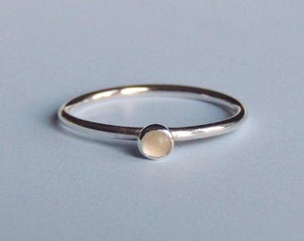 Moonstone Ring Sterling Silver Stacking Ring White Stone Ring