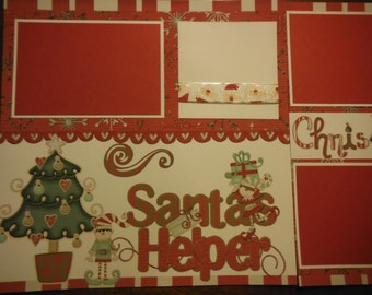 Premade 12x12 Christmas Santa's Helper Scrapbook Pages for boy girl family