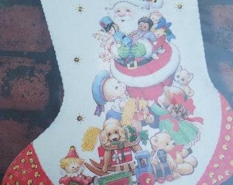 """15"""",Toyland treasures, Dimensions Stocking, Felt, Beads, Sequins, Christmas Stocking, Stocking Kit, Vintage, 1992, Unopened, shiny bright"""