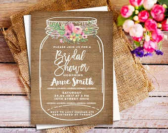 floral invitation, Floral Mason Jar Bridal Shower invitation, rustic Mason Jar Bridal Shower Invite, burlap invitation, ANY EVENT invitation