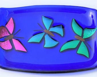 Butterflies, fused glass trinket dish