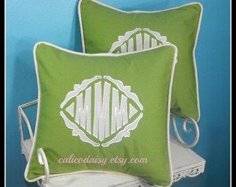 SET OF 2 - The Veronique Applique Monogrammed Pillow Cover - 16 x 16 square