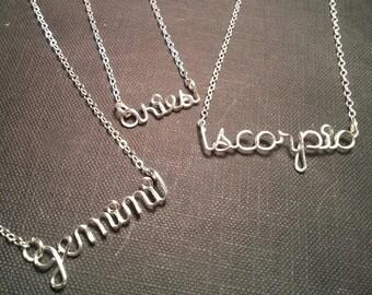 Zodiac Wire Name Necklace
