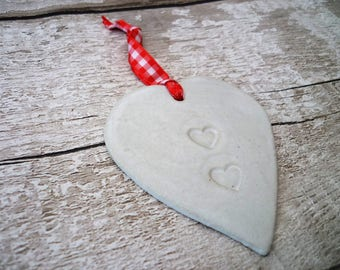 Loveheart Hanger, gift idea, pottery, one off hand made