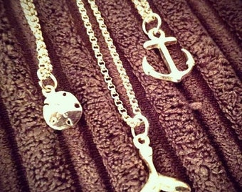 Mothers Day Sale Treasures of the Sea. 14Kt GF Sand dollar, Anchor, and Whale Tail Necklaces You Choose
