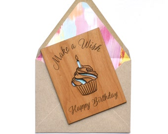 Birthday Card Gift. Gift for Her, Best Friend, Sister, Mom. Happy Birthday Mini Wood Card.
