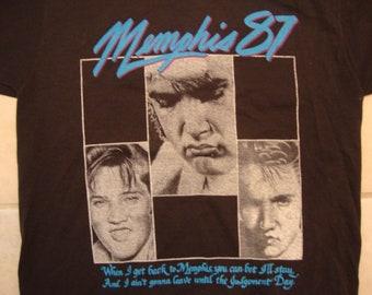 Vintage 80's Elvis Presley Singer Memphis 87 Concert Fan Black T Shirt Size M