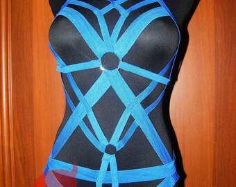 Black or White body harness body bondage body cage mature plus and regular size