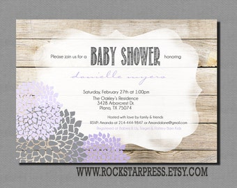 Rustic Girl Baby Shower Invitation, Girl Shower Invite, Lavender, Purple, Grey, Digital File,  PRINTABLE _1240