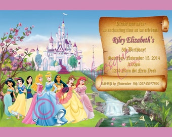 Disney Princess Birthday Party Invitation 5x7 Digital File