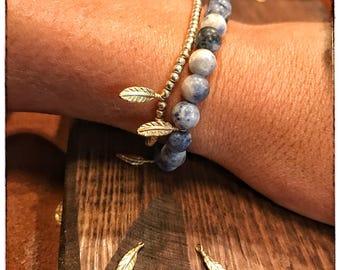 Blue Marble Beaded Quill Bracelet