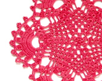 Pink Coral hand dyed Crochet Doily Vintage lacy doily