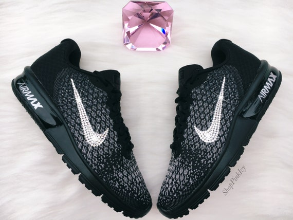 SIZE 11 Swarovski Nike Air Max Sequent 2 Running Shoes Black Blinged Out  With Swarovski Crystals Bling Nike Shoes