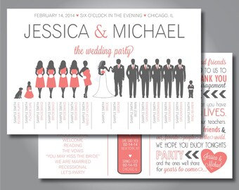Silhouette Wedding Program, Wedding Party program, Horizontal program , Silhouette Front and Back Custom