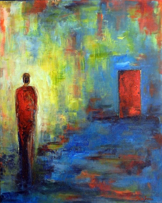 Abstract Realism MODERN Art Figurative Original Oil Painting Blue Yellow - Red Door - 30x24 by BenWill