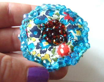 Liberty fabric, aqua blue, red blue red, choose ring or brooch, Poppy, by NewellsJewels