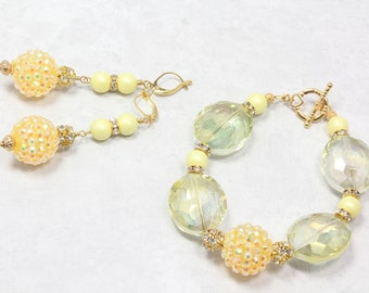 Yellow Prom Bracelet and Earrings Set, Soft Yellow, Crystal and Rhinestones, Prom Essentials, Glamour, Prom Jewelry