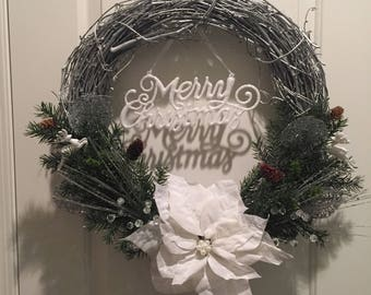 Silver Grapevine Merry Christmas Wreath