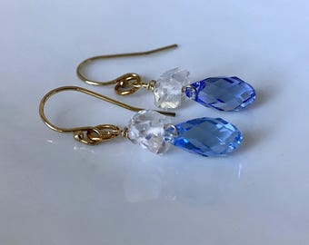 faceted blue crystal and herkimer diamond drop earrings on gold-filled french ear wires, crystal earrings, blue drop earrings, sky earrings