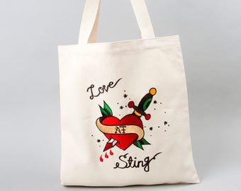 Heart and Knife Embroidered ecobag
