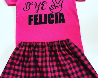 Bye Felicia Pink And Grey Skirt Set, Girl's Pink And Black Flannel Skirt Sets, Girls Flannel Skirt Sets, Toddler Outfits For Girls