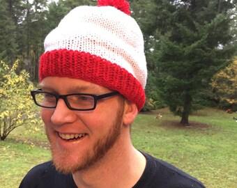 where's Waldo inspired red and white beanie with pom pom
