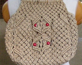 Now 20% off Vintage MACRAME PURSE, BAG, hippie, boho, hand made, red beads, very cool