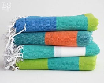 NEW / SALE 50 OFF/ BathStyle / Turkish Beach Bath Towel / Classic Peshtemal / Green-Blue-Orange-Turquoise-White