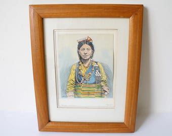 Goray Douglas Portrait of a Sherpa Woman, Hand-colored (Watercolor) Etching or Pen and Ink, Darjeeling, Vintage mid-1940's - early 1970's