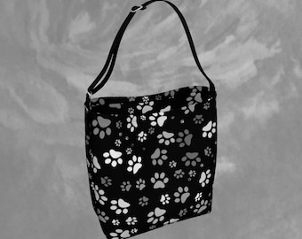 Paw Print Tote Bag Printed Tote Bag Dog Paw Day Tote Paw Print Totes Womens Black Tote Bag Custom Day Tote Shoulder Bag Womens Accessories