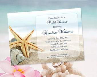 Printable Bridal Shower Invitations 'Beach Starfish 'Tropical Destination or Beach Wedding Shower Template Instant Download DIY You Print