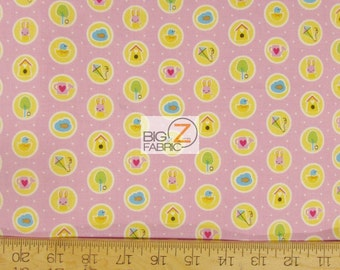 """100% Cotton Fabric By Melly And Me For Riley Blake - Sweet home Pink - 45"""" Width Sold By The Yard (FH-1621)"""