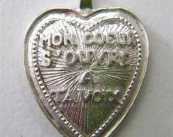 french heart pendant charm large stamping charm zne  your voice has opened my heart made in america  WV3
