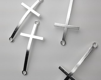 Silver Sideways Cross Connector Charm, Silver Connector cross, Cross Connector, Modern Cross, Horizontal Cross  // Combo Bracket 2 {CS010}