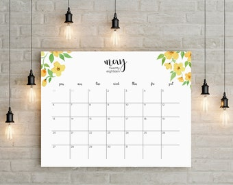 May 2018 - April 2019 Planner Big Wall Calendar Printable instant planner Floral Watercolor Horizontal Decor Desk Frame Letter Sunday Monday