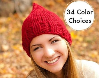 Knit Hat Red Womens Hat Red Hat - Red Gnome Hat in Cranberry Red Knit Hat - Fall Fashion Warm Winter Hat Knit Accessories - 34 Color Choices