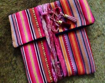 Boho Chic Mexican Clutch Purse with Silk Sari Ribbons and Tassels 60s 70s Bohemian