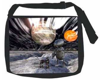 Robot and Dog in Outer Space - Black School Shoulder Messenger Bag