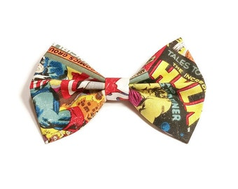 Comic Book Hair Bow • Marvel Fabric Bow • Spiderman Hair Bow • Geekery Hair Bow • Women's Fashion • Gifts For Women • Cosplay Gifts