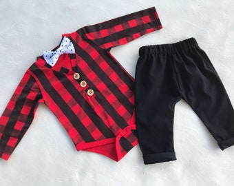 Baby Boy Plaid bow tie outfit