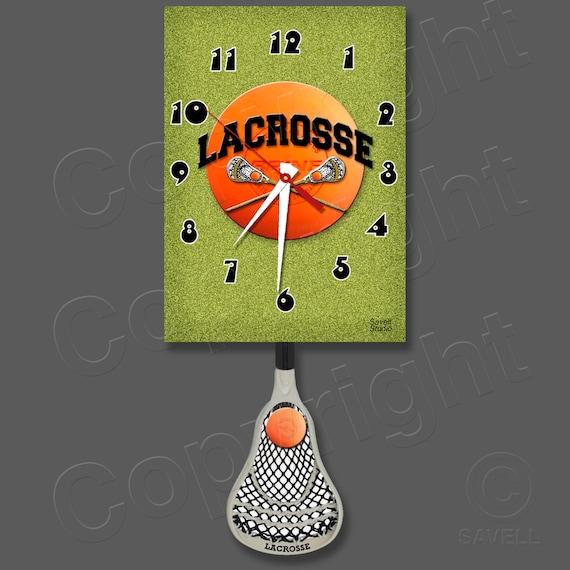Lacrosse Clock with a Swinging Lacrosse Stick Pendulum