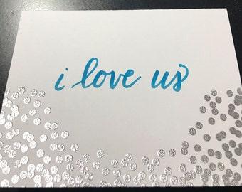 I love us handlettered card
