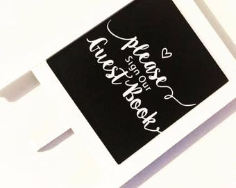 Please sign our guestbook sign, wedding sign, guest book, chalkboard sign, mini chalkboard, wedding decor, wedding signage, shabby chic
