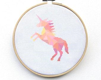 Unicorn Cross Stitch Kit, Embroidery Kit, Cross Stitch Kit, Unicorn Gift, Pink Unicorn, Embroidery Art Kit, Geometric Kit
