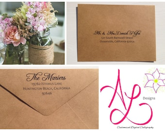 Custom Digital Caligraphy Printed Envelopes