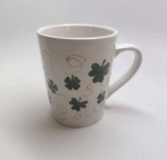 Hand Painted Ceramic Mug for St. Patricks Day with Green Clovers and gold swirls