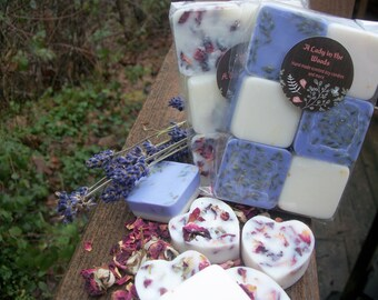 Lavender and Rose wax melts 2 pack-organic lavender and organic rose infused soy wax melts-real roses-real lavender-organic wax tarts-floral