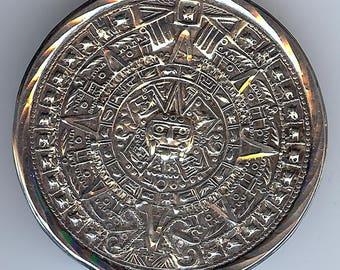 VINTAGE Mexico sterling silver MAYAN CALENDAR pin brooch or pendant