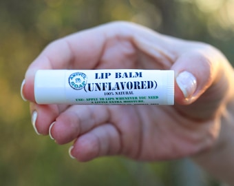 Lip Balm, 100% Natural, Unflavored, Natural Lip Balm, Natural Lip Balm, Moisturizing Lip Balm.