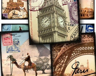 World Tour Digital Collage Sheet in 1 x 1 Inch Squares Vintage France Egypt England Italy Europe Postcards Stamps Travel piddix 837